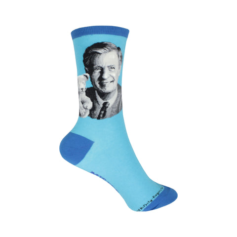 Mr Rogers Portrait Crew Socks in Blue
