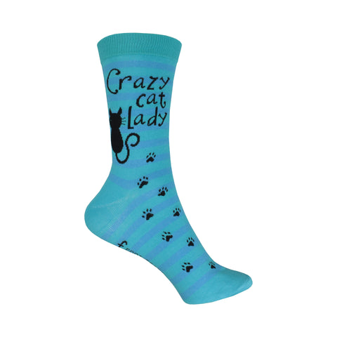 Crazy Cat Lady Crew Socks in Blue