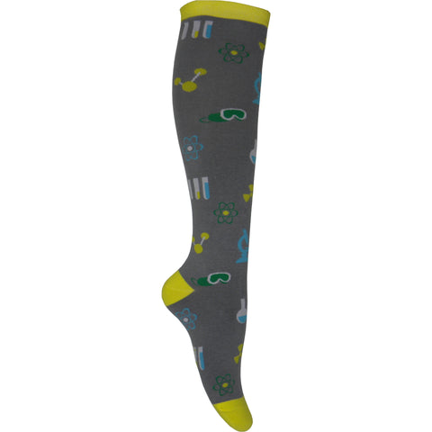 Mad Science Knee High Socks in Gray