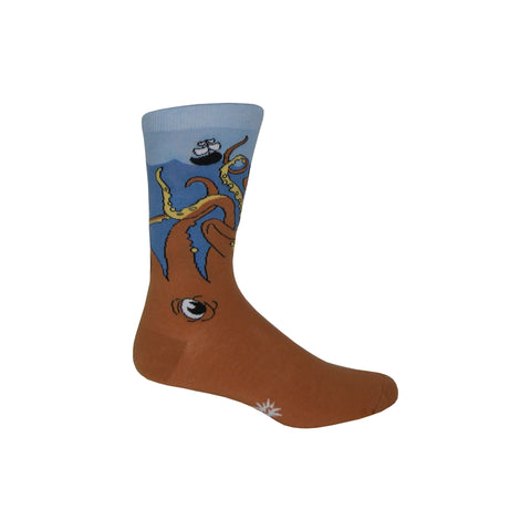 Giant Squid Crew Socks in Blue and Brown