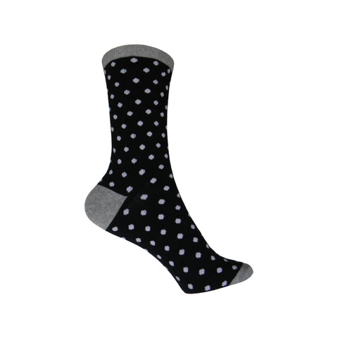 Small Polka Dots Crew Socks in Black and White