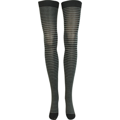 Stripe Thigh High Socks in Black and Charcoal