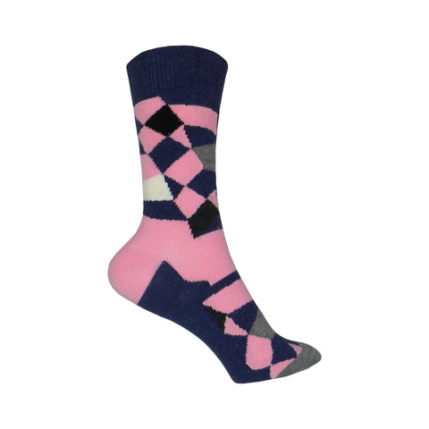 Random Cotton Crew Socks in Pink and Blue