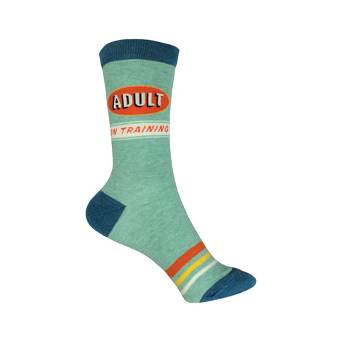 Adult in Training Crew Socks in Green and Blue