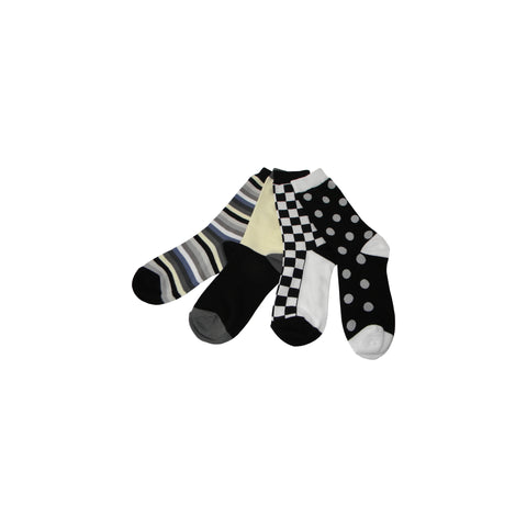 Pack of Four Individual Mismatched Crew Socks in Black, White, and Shades of Gray