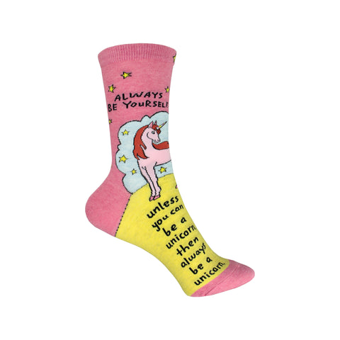 Always Be a Unicorn Crew Socks in Pink and Yellow