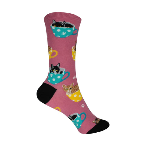 Cat-feinated Crew Socks in Pink