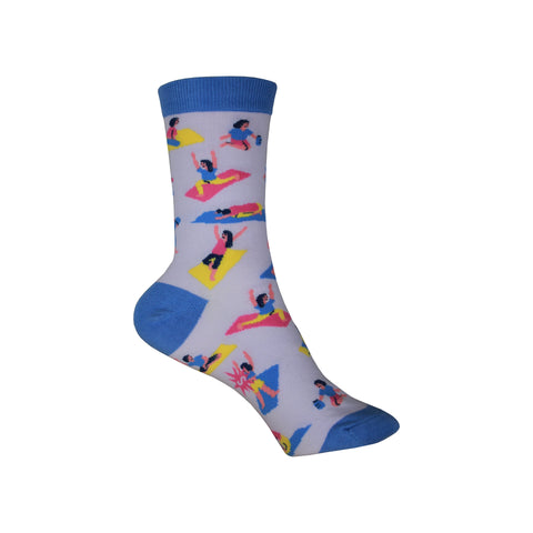 Pose Your Toes Crew Socks in Blue