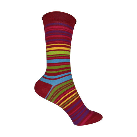 UPC Stripe Crew Socks in Red