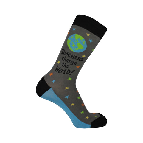Teachers World Crew Socks in Gray
