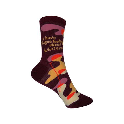 I Have Vague Feelings Crew Socks in Wine