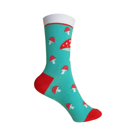 Mushrooms Crew Socks in Mint and Red