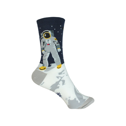 One Giant Leap Crew Socks in Black and Gray