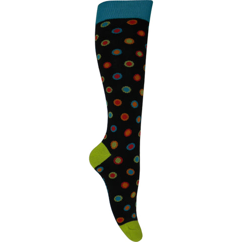 Bright Dots Knee High Socks in Black