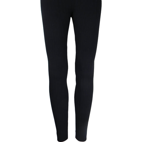 Cable Fleece Leggings in Black