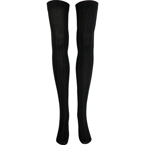 Opaque Pinstripe Thigh High Socks in Black and Gray