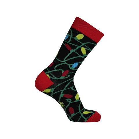 Tangled Lights Crew Socks in Black