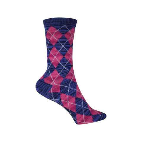Texture Argyle Crew Socks in Pink and Blue