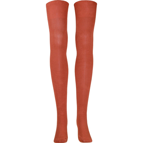 Ribbed Over The Knee Socks in Rust