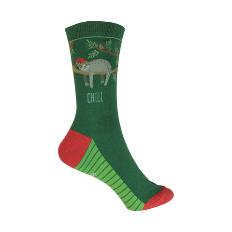 Holiday Sloth Crew Socks in Green