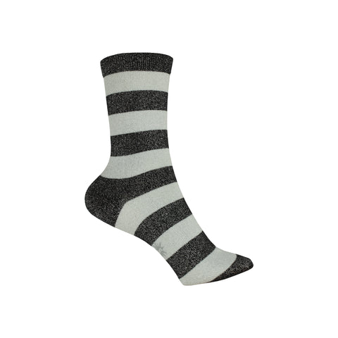 Puttin' on the Glitz Crew Socks in Black and Silver
