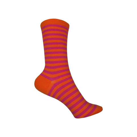 Thin Stripe Crew Socks in Bright Pink