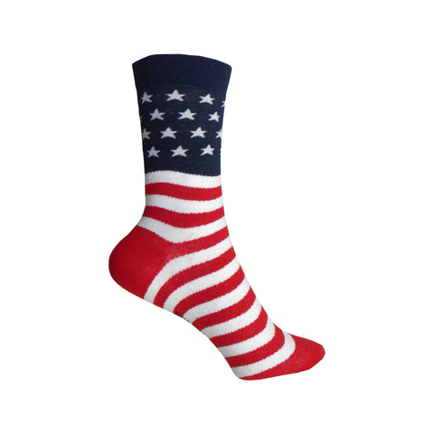 American Flag Crew Socks in Red, White, and Blue