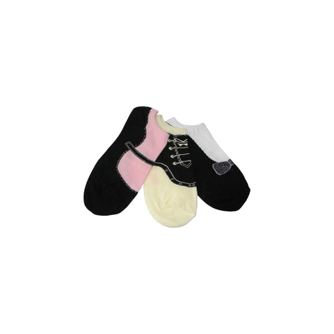 Three Pack Shoe Footie Socks in Black, Pink, and Cream