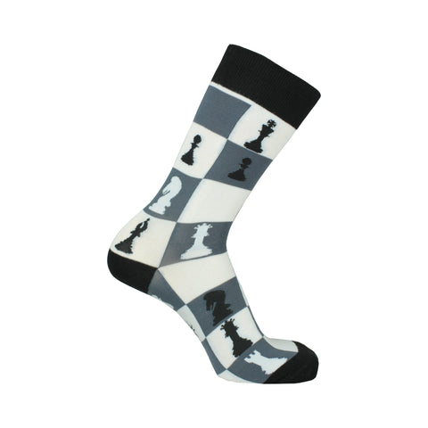 Checkmate Crew Socks in Black and White