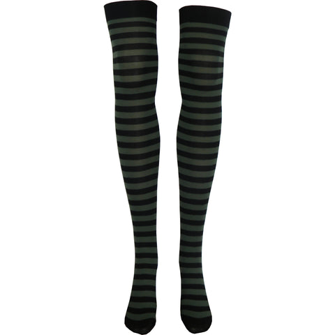 Stripe Opaque Thigh High Socks in Black and Olive