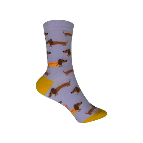 Hot Dogs Crew Socks in Purple