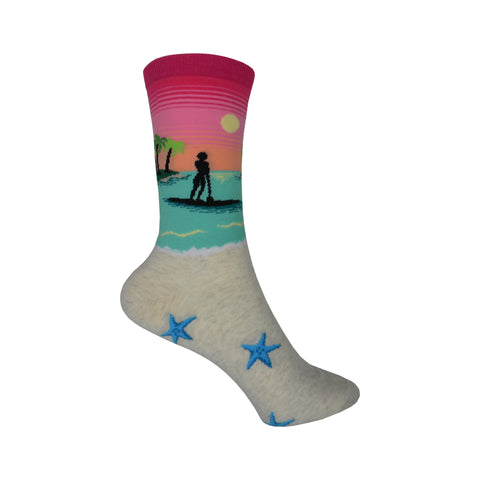 Stand Up Paddleboarding Crew Socks in Bright Pink