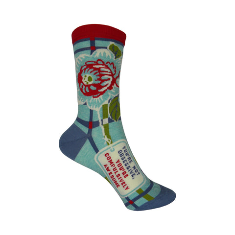 Compulsively Awesome Crew Socks in Blue