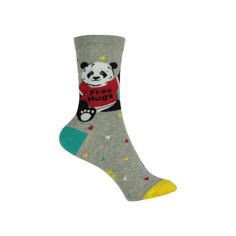 Bear Hug Crew Socks in Gray