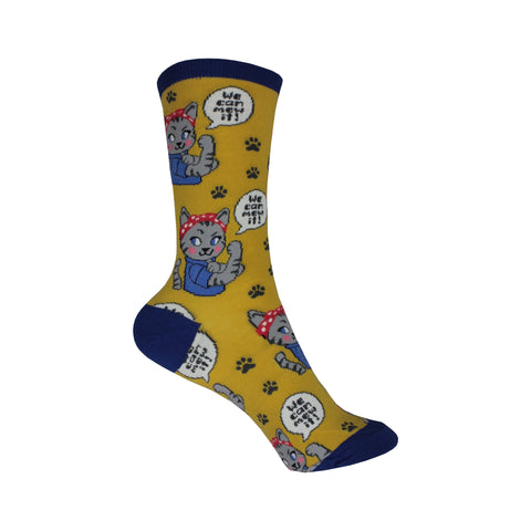 We Can Mew It Crew Socks in Yellow