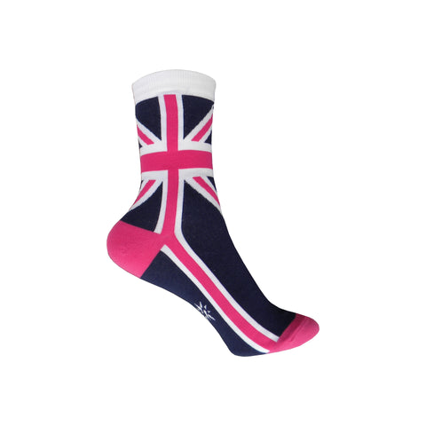 British Flag Crew Socks in Pink and Navy