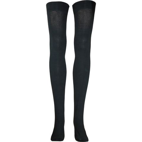 Combed Cotton Thigh High Socks in Black