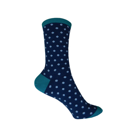 Small Polka Dots Crew Socks in Navy