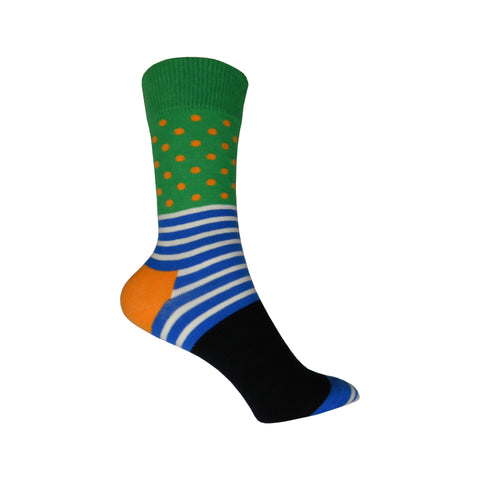 Stripe & Dots Crew Socks in Green