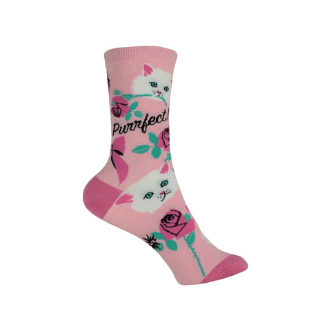 You're Purrfect Crew Socks in Pink
