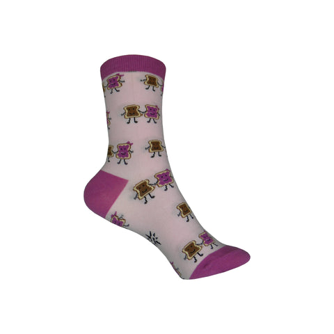 PB&J Crew Socks in Pink and Purple