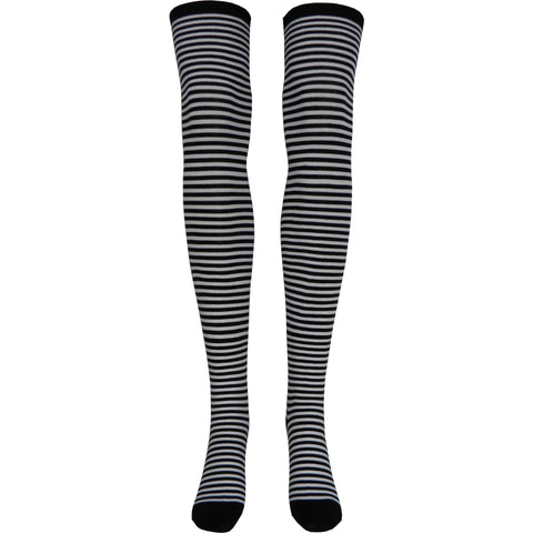 Zebra Over The Knee Socks in Black and White