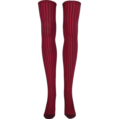 Surprise Rib Over The Knee Socks in Bordeaux