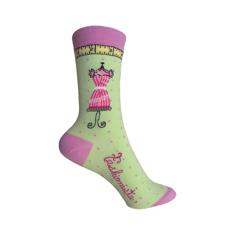 Fashionista Crew Socks in Soft Green
