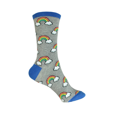Rainbow Crew Socks in Sweatshirt Gray
