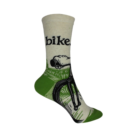 Bike Path Crew Socks in Green