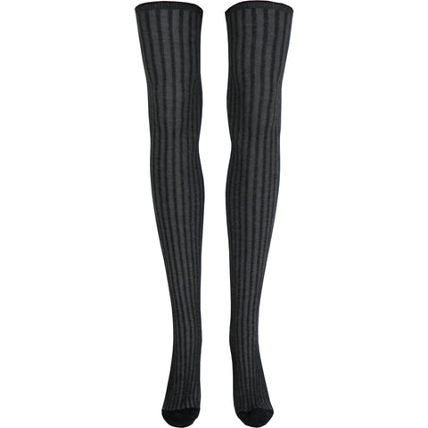 Surprise Rib Over The Knee Socks in Gray and Black