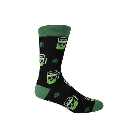 Lucky Beer Crew Socks in Black and Green