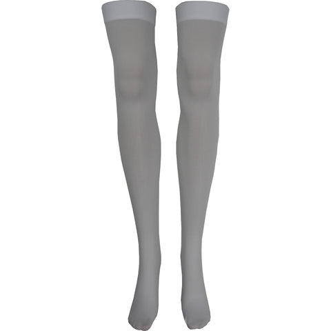 Solid Opaque Thigh High Socks in White