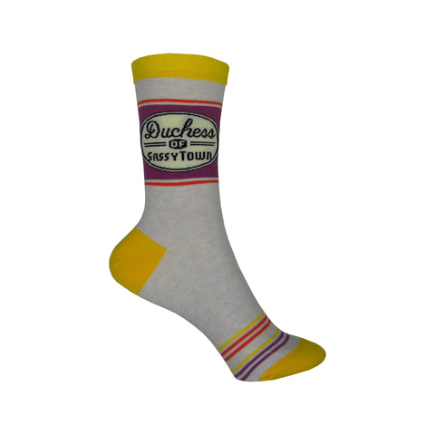 Sassytown Crew Socks in Purple and Yellow
